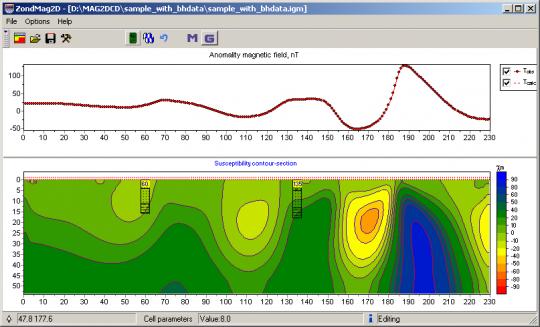 Результат инверсии данных магниторазведки в программе ZondMAG2d