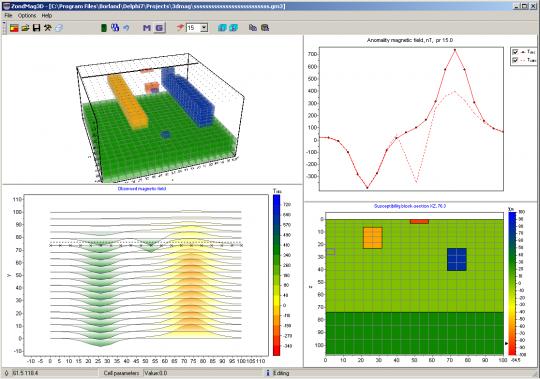 Окно программы ZondMAG3d в режиме моделирования