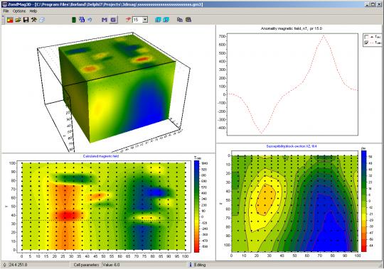Трехмерная модель магнитных свойств полученная по данным магниторазведки