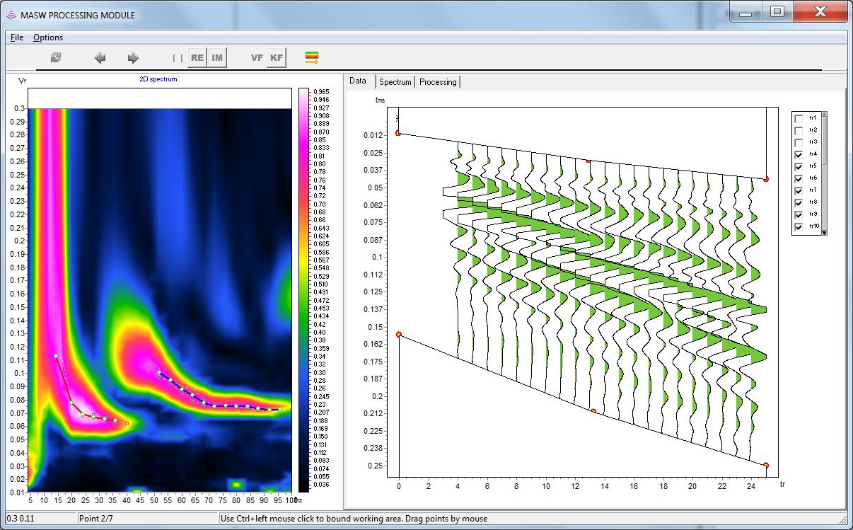 Модуль MASW. Обработка данных поверхностных волн. ZondST2d