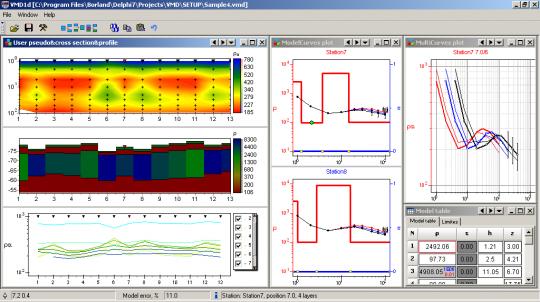 Геоэлектрический разрезз полученный по результатам частотно дистанционного зондирования в ZondVMD1d