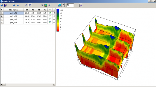 3D visualization of 2D geophysical sections and depth's slice.