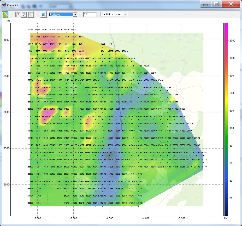 Resistivity slice for specified depth in ZondTEM1D